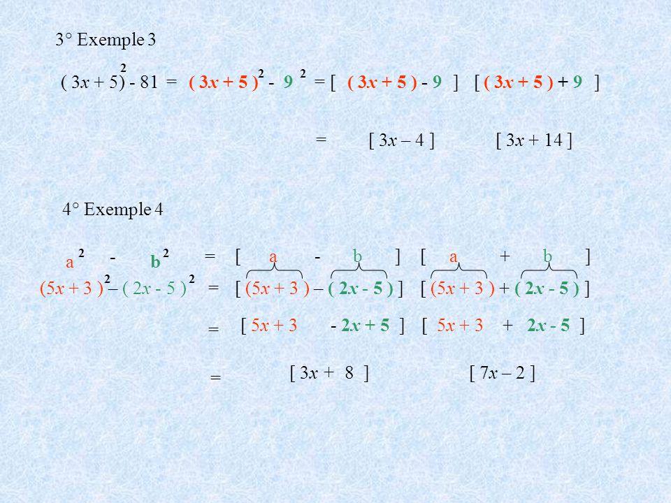 3° Exemple 3 ( 3x + 5) - 81 = ( 3x + 5 ) - 9 = [ ( 3x + 5 ) - 9 ] [